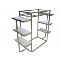 Quality Silver Brushed Stainless Steel Clothing Display Racks With White Wooden Shelves for sale