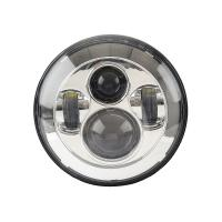 Quality Black Frame Motorcycle Jeep Wrangler Headlights with High / Low Beam 6000K for sale