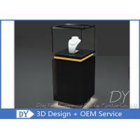 Quality Pre - Assembly Black Exhibit Pedestal Display Showcase With Lighting for sale