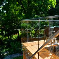 Quality Shenzhen  Ace Frameless Corridor Stainless Steel Standoff Glass Railing for sale