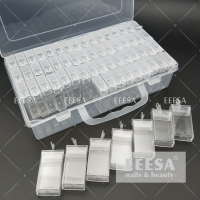 Quality 64 Slots Clear Tube Nail Art Jewelry Accessories Acrylic Bead Container Storage Box for sale