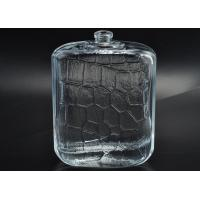 Quality 112ml Refillable Flat Flagon Glass Perfume Bottles with Embossed Pattern for sale