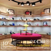 Quality High end shoes shop design wood display shelf and racks for sale