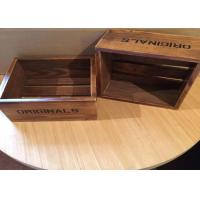 Dark Wood Engraved Custom Wood Serving Tray , Small Wooden Trays Boxes For Cigar