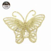 Quality Beautiful Golden Butterfly Iron On Patch , Sequin Washable Animal Iron On Patches for sale