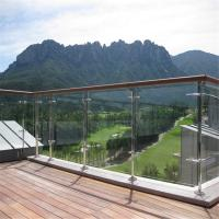 Quality Stainless steel commercial balustrade with ultra clear glass panel design for sale