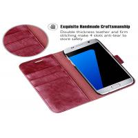China Wine Red PU Samsung Leather Case / Samsung Galaxy S7 Leather Folio Case on sale