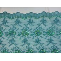 China Green Scalloped Beaded Lace Fabric By The Yard For Wedding Bridals / Gowns on sale