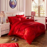 Quality Red Bridal Polyester Bed Sheet Cover Sets With Embroidery Flower Queen Size for sale