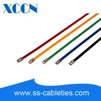 China 7.9*0.25*200mm 201,304,316 grade colorized epoxy polyester ball-lock plastic coated stainless steel cable ties on sale