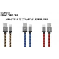 Buy Nylon Braided 3M / 10ft USB2.0 USB Type-C Cable Transmit Speed 480M / 3A at wholesale prices
