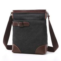 Quality Male Poly Cotton Cross Shoulder Bag Smooth Zipper OEM With Soft Canvas Fabric for sale