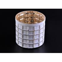 Quality Mercury Electroplated White Sprayed Glass Candle Jars , Square Pattern for sale