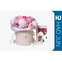 Quality Romantic Round Cardboard Boxes For Flower Arrangements With Ribbon for sale