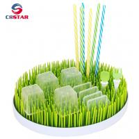 Buy cheap Round shaped plastic green lawn countertop baby bottle grass drying rack drainer from wholesalers