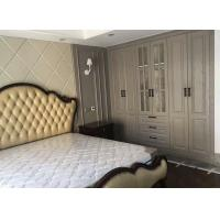 Quality Sliding Opening Bedroom Wardrobe Cabinets Gray Moulded Skin Tactile Door Panel for sale