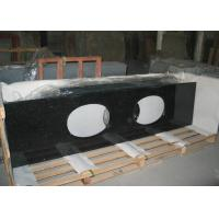 Quality Black Galaxy Granite Tiles Countertop , Natural Solid Surface Kitchen Countertops for sale