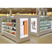 Quality White Wood Makeup Counter Display / Cosmetic Display Shelves Modern Simple Style for sale
