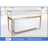 Quality Rose Gold Stainless Steel Frame Jewelry Display Cases With MDF Cabinet for sale