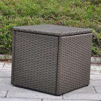 Outdoor Patio Resin Wicker Deck Box Storage Container Bench Seat 21 Gallon Anti Rust All