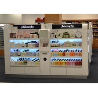 Quality Wooden Island Shelf Cosmetic Display Case White Coating Decorated With LED Light for sale