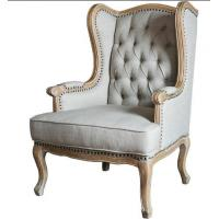 Quality European Rustic Wooden Leisure Chair For Bedroom , Antique Upholstered Armchairs for sale