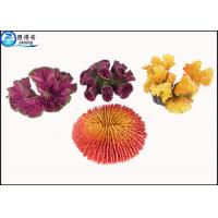Quality Yellow / Purple Unique Coral Fish Tank Decorations Resin Ornaments with OEM & ODM for sale