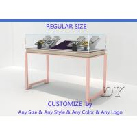 Buy Gorgeous Rose Gold Stain Steel Glass Jewelry Showcases For Sale at wholesale prices