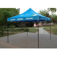 Quality Blue Steel Canopy 3x3 Pop Up Gazebo Hand Printing For Beach Advertising Trade Show for sale