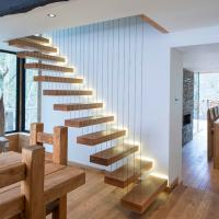 Quality Modern Decorative Floating Wood Stairs with Invisible Stringer Stainless Vertical Rod Railing for sale