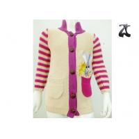 Girls Cotton Cardigan Knit Sweater Striped Sleeves Stand Up Collar Soft and Warm