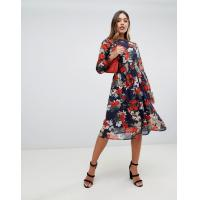 OEM your own hot sale girls high neck floral midi dress