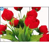 Buy Red Rose Flowers Water Drops Plastic Aquatic Plants With Ceramic Base For Home Decorations at wholesale prices