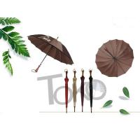 Quality Wooden Unbreakable Walking Stick Umbrella Auto Open 190T Polyester Fabric for sale
