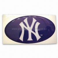 Quality Oval-shaped Epoxy 3-D Sticker for Sports Equipment Decoration, Available in Blue Tone for sale