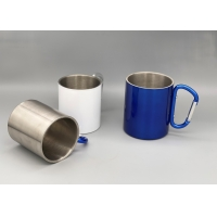 Quality Double Walled Insulated Silver 250ml Camping Cups for sale