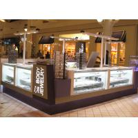 Quality Fully Lockable Mall Jewelry Kiosk White Purple Color With Tempered Glass Material for sale