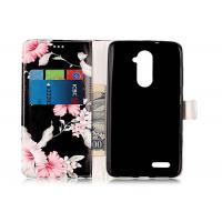 Quality Scratch Resistance Pu Leather TPU Phone Case Black Color With Flower Printing For Iphone for sale