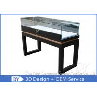 Quality Black Custom Glass Display Cases Plinth For Jewelry / Watch With LED Lighting for sale