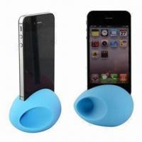 Quality Speakers for iPhone 4S/4, Silicone Material, Egg Design, Various Colors Available for sale