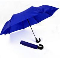 Quality Mens Compact Umbrella Push Button Open CloseRoyal Blue 21 Inches Plastic Tips for sale