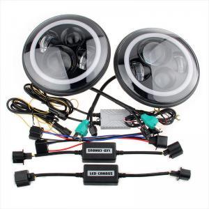 Quality 70W Led Jeep Wrangler Headlights , High Low Beam Halo Angel Eyes Headlights for sale