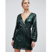Quality OEM sequin wrap front long sleeve green skater dress for sale
