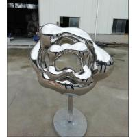 Quality Contemporary Outdoor Garden Sculpture , Abstract Mirror Stainless Steel Sculpture for sale