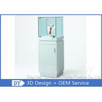 Quality Shinning White Custom Glass Display Cases With Lighting 450 X 450 X 1250MM for sale
