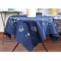 Quality Chemical Fiber Embroidered Linen Tablecloth , Country Style Square Cotton Tablecloth for sale
