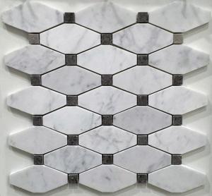 Quality White And Grey Slate Stone Mosaic Tile Diamond Carrera Venato Marble Black Dots Polished for sale