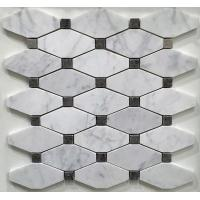 Quality White And Grey Slate Stone Mosaic Tile Diamond Carrera Venato Marble Black Dots Polished for sale