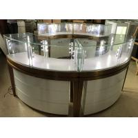 High End Stainless Steel Gold Jewellery Showroom Display Showcase With Led Light