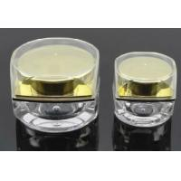 Quality 5ml 10ml 15ml 30ml 50ml square plastic cosmetic pot  acrylic silver gold empty cosmetic jars for sale